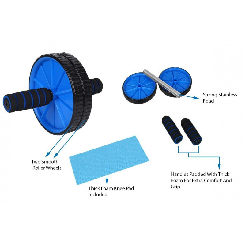 Double Wheel Ab Roller For GYM Exercise Fitness Equipment -Multicolor