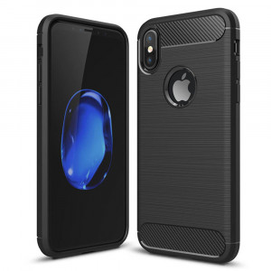 Iphone X Carbon Texture Cover - Black