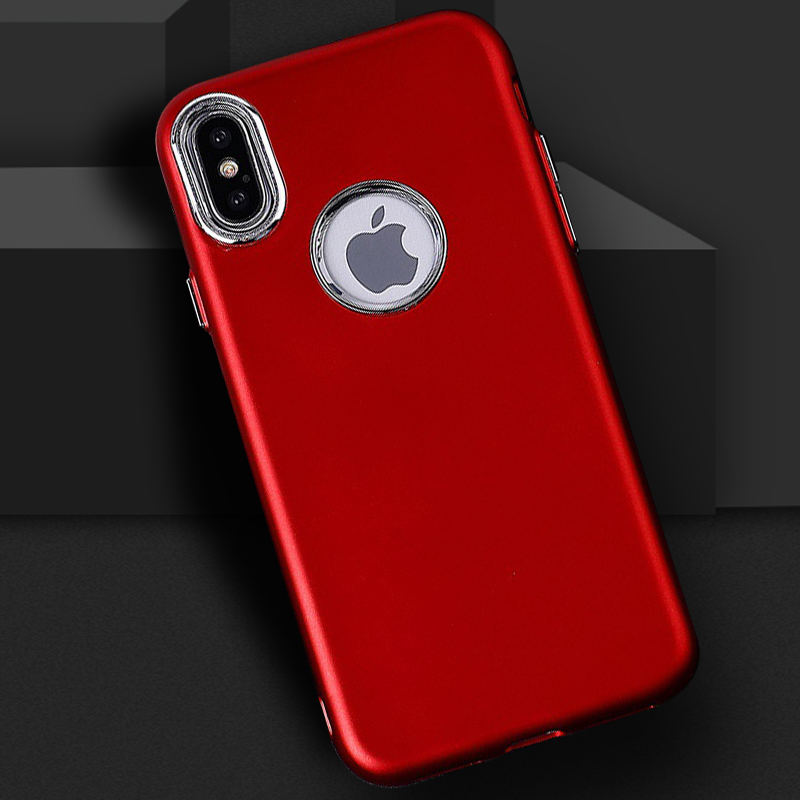 iPhone X - Soft TPU Case with Metal Button, Ultra-Thin Back Cover (Red)