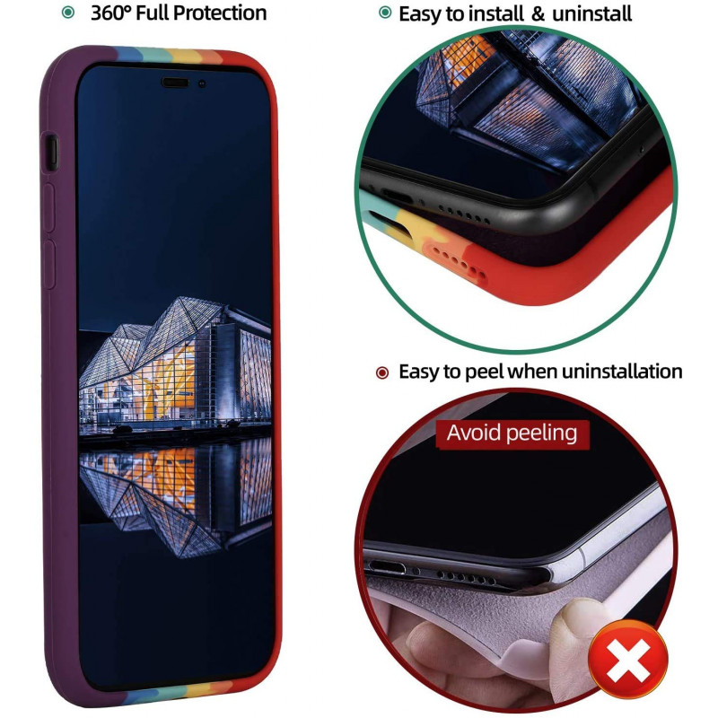 Soft Silicon Case for iPhone 11 Series - Rainbow